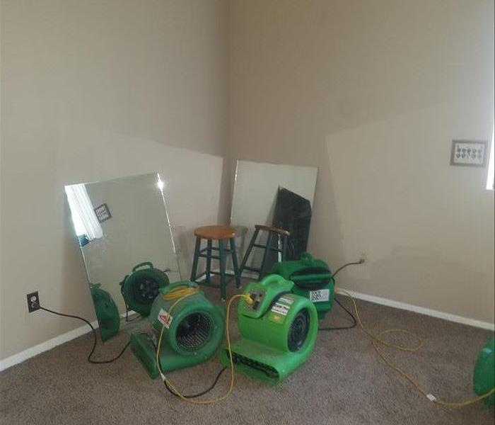 SERVPRO drying equipment setup in the same room