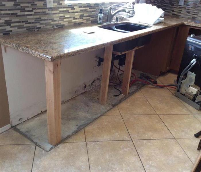 Mold growth in kitchen from a leak behind the cabinets